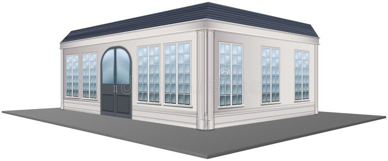 progettazione 3D per la costruzione con il tetto grigio illustrazione vettoriale