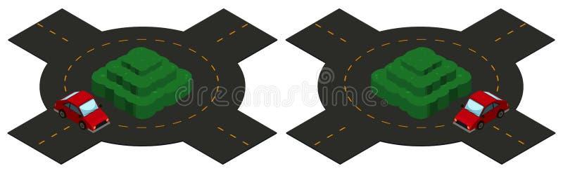 progettazione 3D per la rotonda con la circonduzione dell'automobile illustrazione di stock