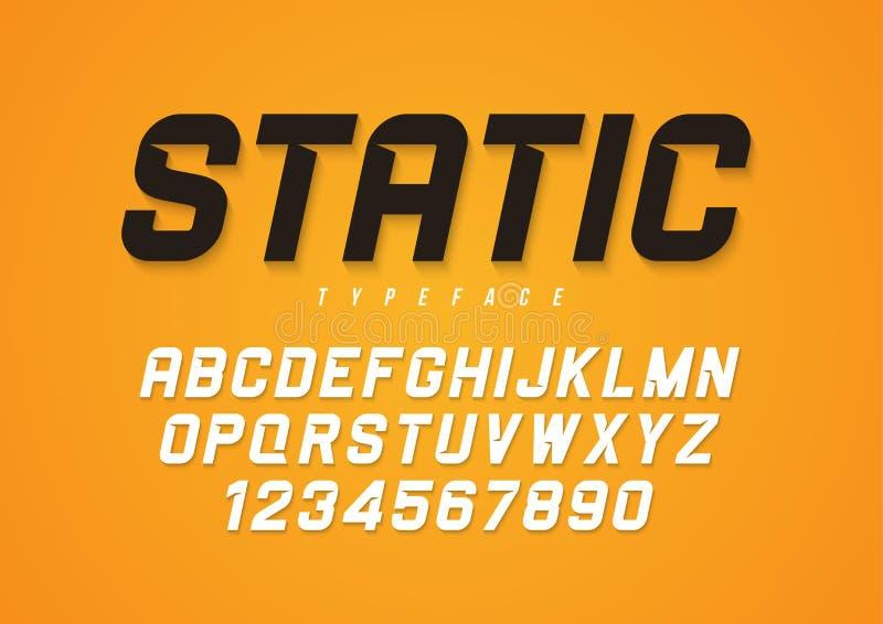 Progettazione decorativa della fonte di grassetto corsivo di vettore statico, alfabeto, tipo illustrazione di stock
