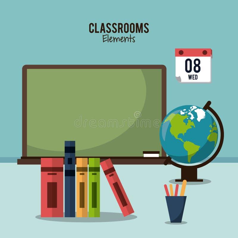 Progettazione degli elementi dell'aula illustrazione vettoriale