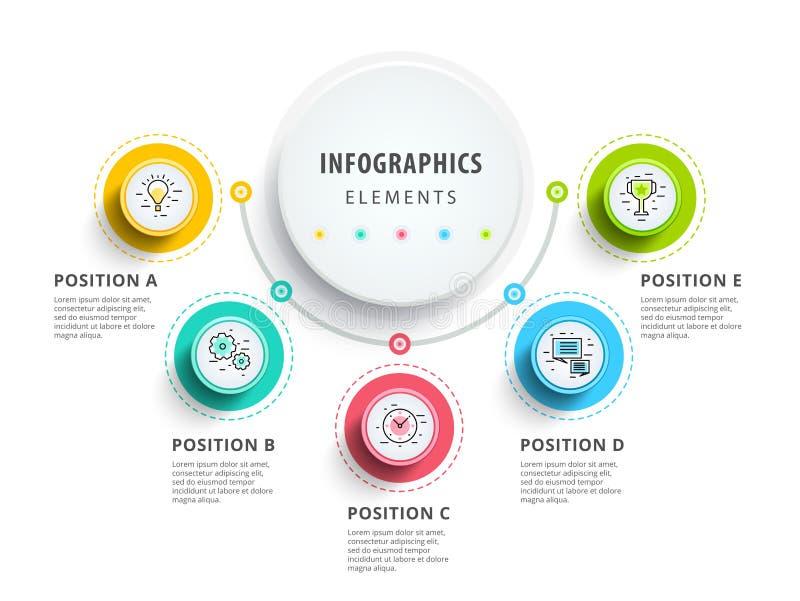 Progettazione degli elementi di infographics del cerchio Flusso di lavoro astratto di affari illustrazione di stock