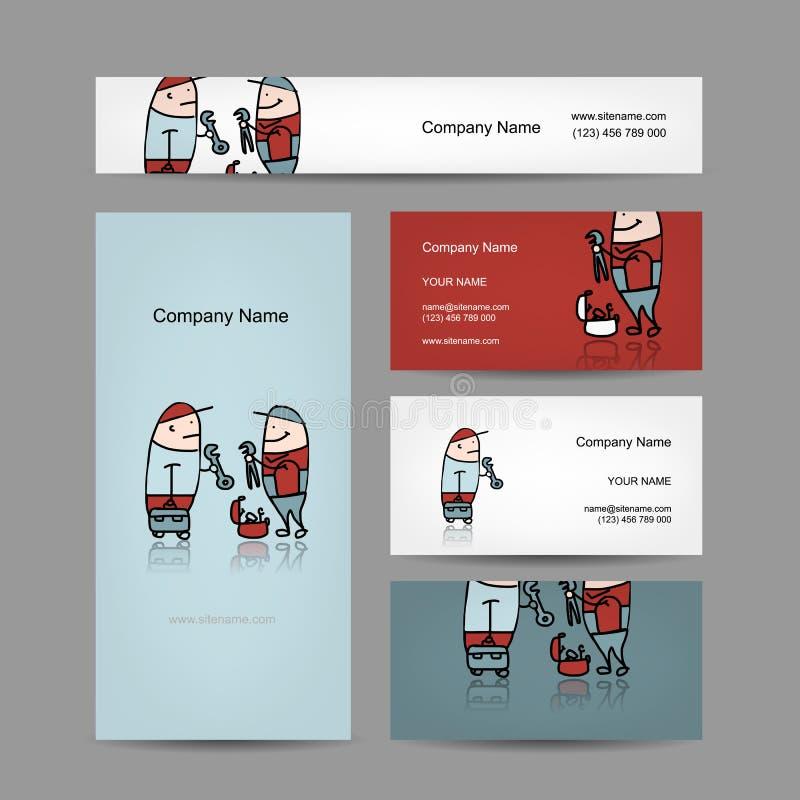 Progettazione dei biglietti da visita con la gente dei lavoratori illustrazione di stock