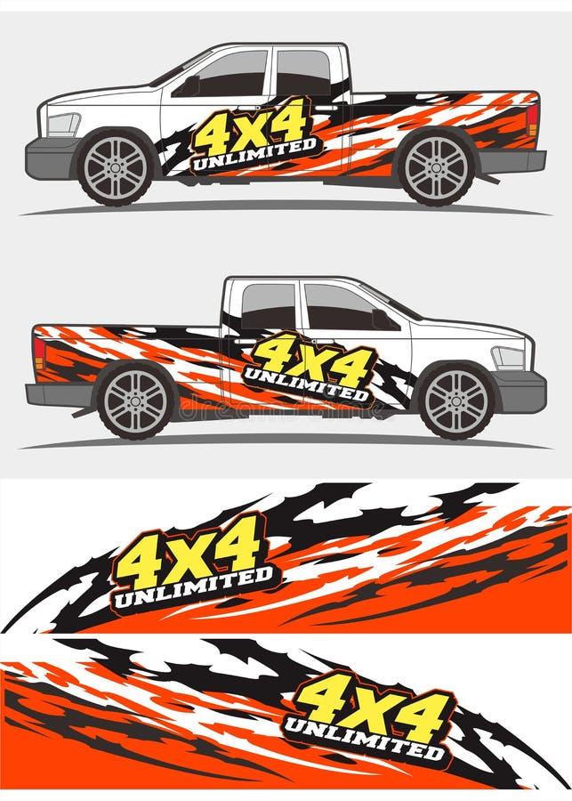 Progettazione dei corredi dei grafici della decalcomania del veicolo e del camion illustrazione vettoriale