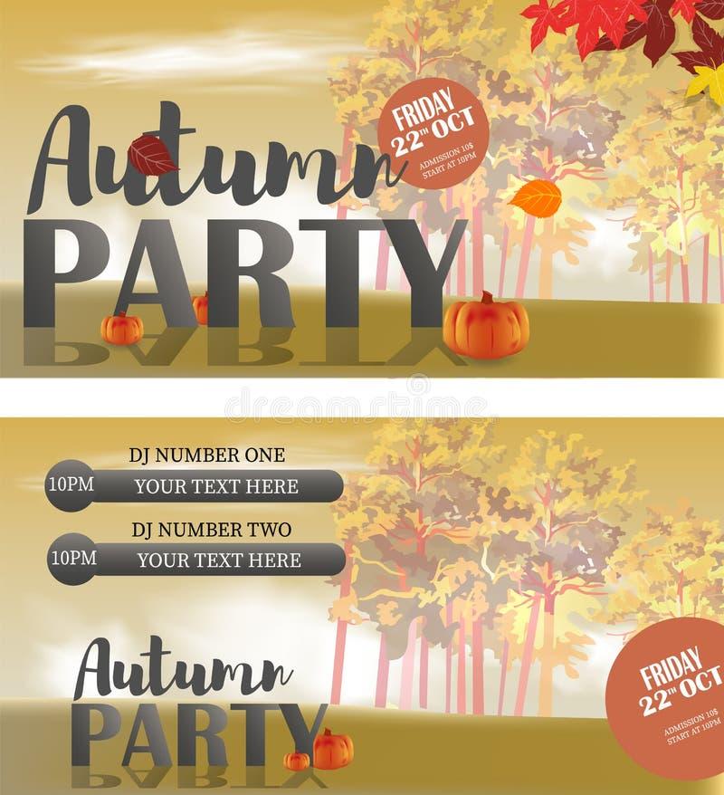 Progettazione dei modelli della carta di Autumn Invitation per un partito royalty illustrazione gratis