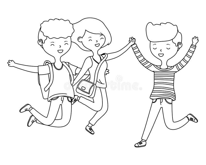 Progettazione dei ragazzi dell'adolescente e dei fumetti della ragazza royalty illustrazione gratis