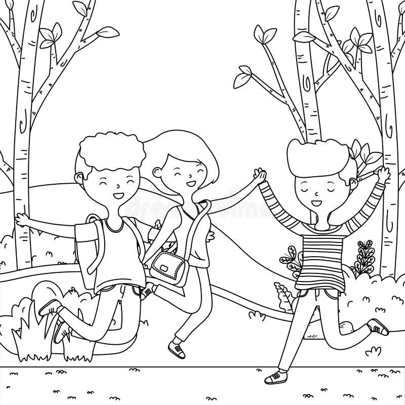 Progettazione dei ragazzi dell'adolescente e dei fumetti della ragazza illustrazione di stock