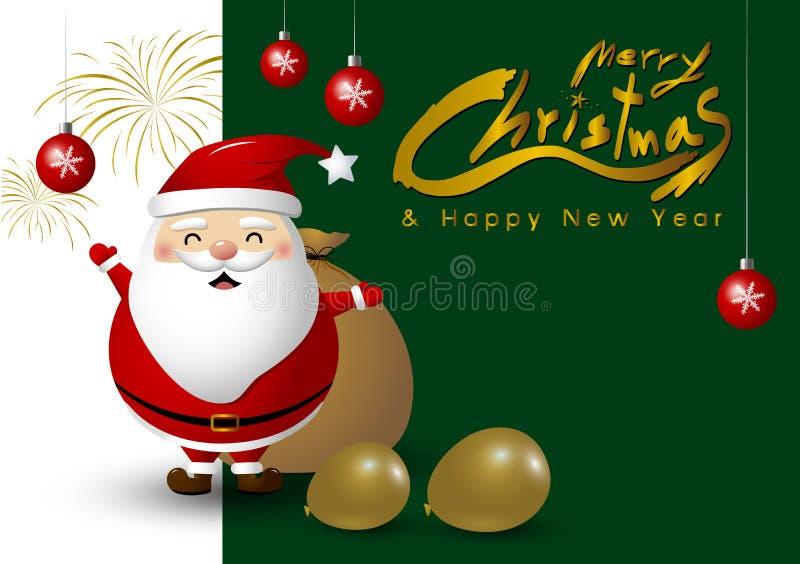 Progettazione del Babbo Natale per natale ed il nuovo anno illustrazione di stock