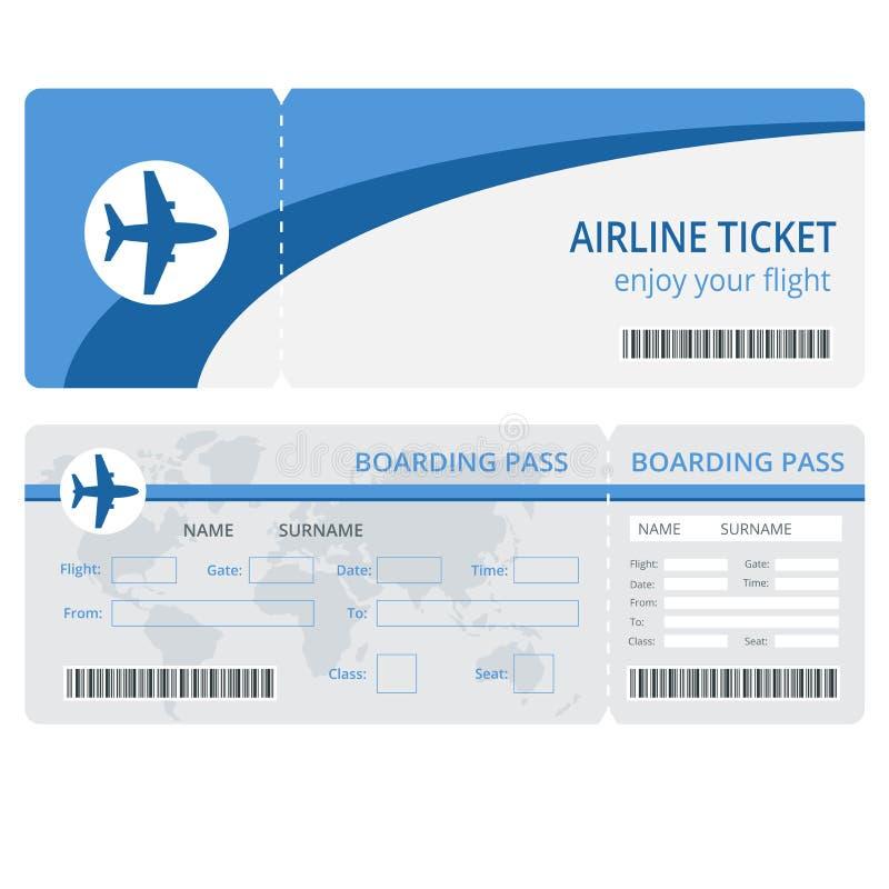 Progettazione del biglietto aereo Vettore del biglietto aereo Biglietti aerei in bianco isolati Biglietti aerei in bianco ENV Vet illustrazione vettoriale