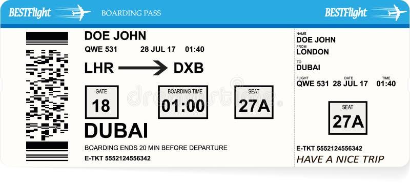 Progettazione del biglietto del passaggio di imbarco degli aerei royalty illustrazione gratis