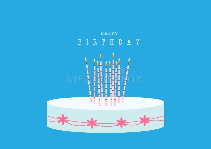 Progettazione del biglietto di auguri per il compleanno felice con la torta di compleanno sugli ambiti di provenienza blu, illust illustrazione di stock