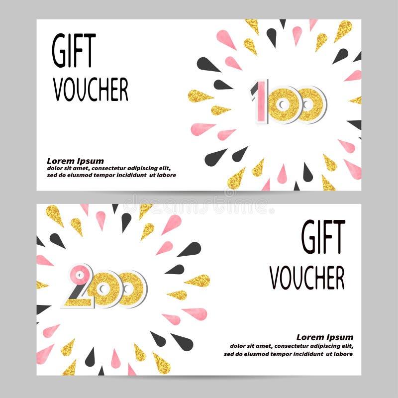 Progettazione del buono di regalo con le gocce dorate, nere e rosa illustrazione vettoriale