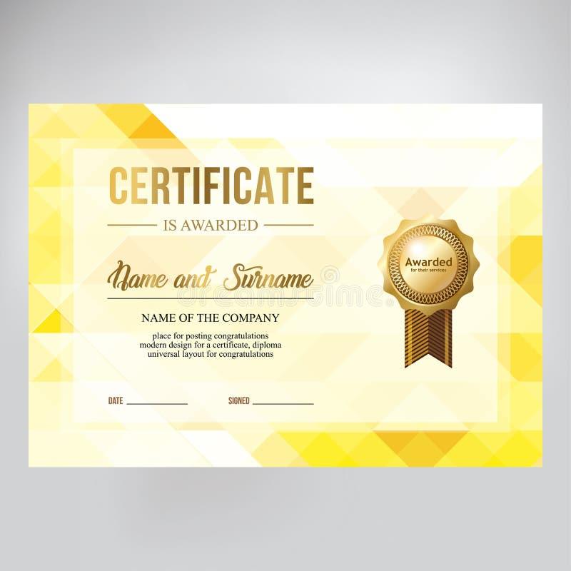Progettazione del buono regalo, diploma onorario Fondo geometrico creativo dell'oro fotografia stock