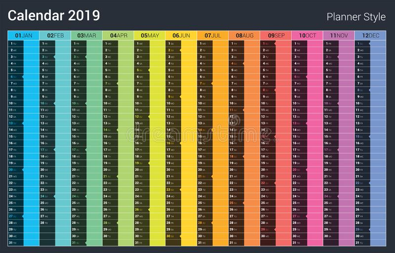 Progettazione del calendario del pianificatore 2019 Stile di colore pieno di vettore Fine settimana di domenica royalty illustrazione gratis