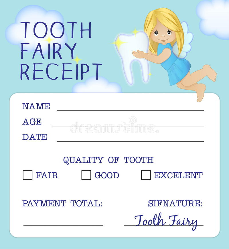 Progettazione del certificato della ricevuta del fatato di dente illustrazione di stock