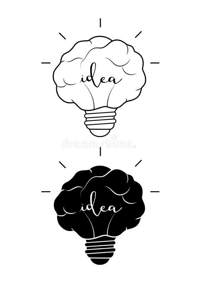 Progettazione del cervello della lampadina illustrazione di stock