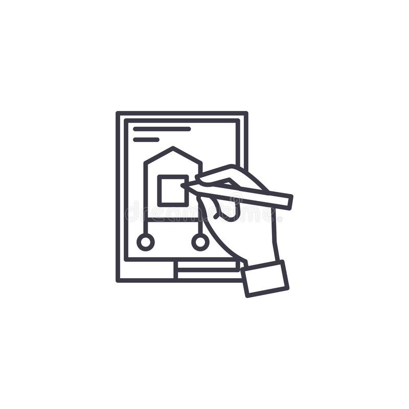 Progettazione del concetto lineare dell'icona di progetto Progettando un progetto allini il segno di vettore, il simbolo, illustr illustrazione vettoriale
