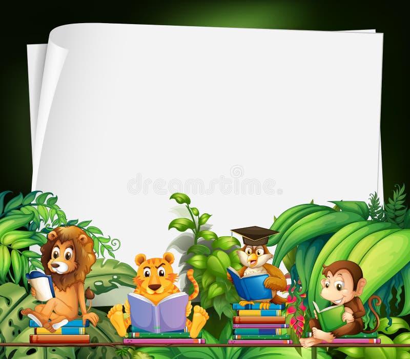 Progettazione del confine con i libri di lettura degli animali selvatici royalty illustrazione gratis