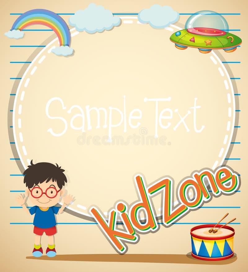 Progettazione del confine con il ragazzo ed i giocattoli illustrazione vettoriale