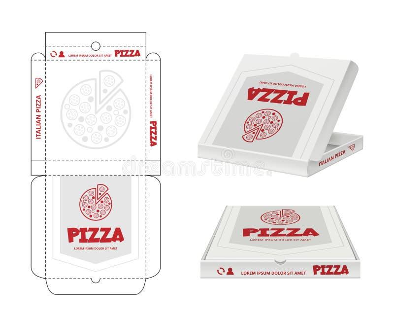 Progettazione del contenitore di pizza Non imballato il vettore realistico di identità di affari del modello del pacchetto della  illustrazione vettoriale