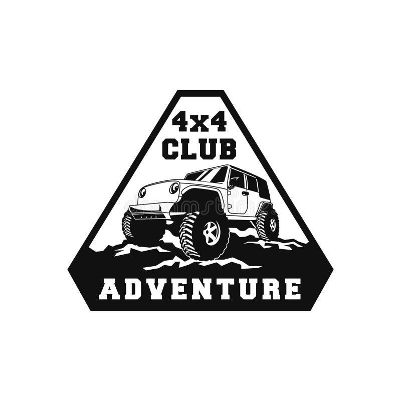 progettazione del distintivo di logo della comunità del club del veicolo 4x4 fuori dall'illustrazione dell'automobile della strad illustrazione vettoriale