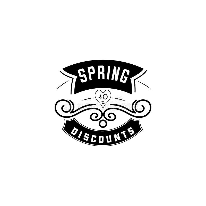 Progettazione del distintivo di vendita della primavera Autoadesivo, bollo, logo - fatto a mano Con l'uso degli elementi di tipog illustrazione vettoriale
