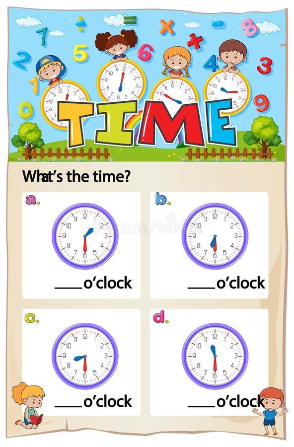 Progettazione del foglio di lavoro di per la matematica per dire tempo illustrazione di stock