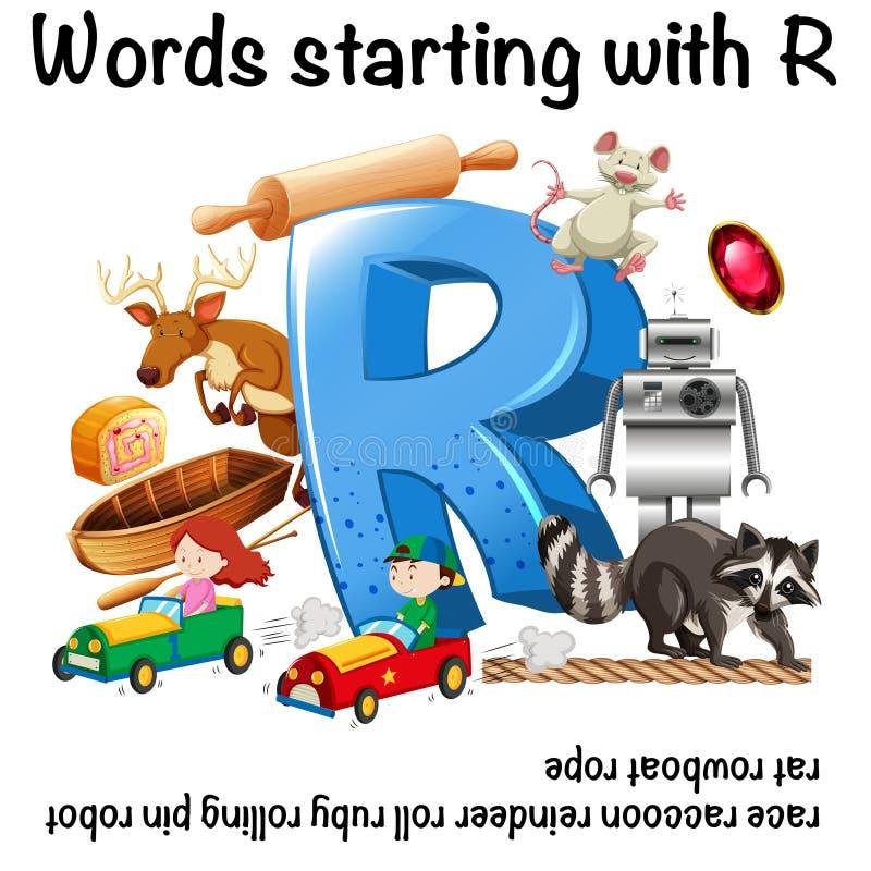 Progettazione del foglio di lavoro per le parole che iniziano con la R illustrazione di stock