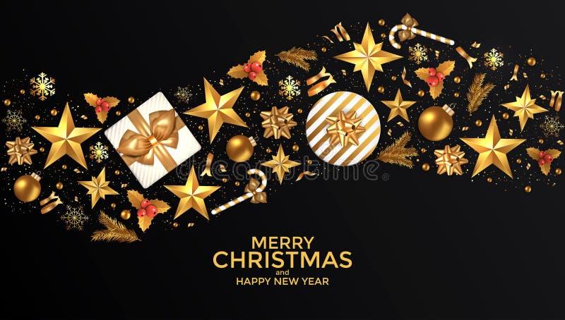 Progettazione del fondo del buon anno e di Buon Natale con la decorazione degli ornamenti di festa Cartolina d'auguri di lusso Il royalty illustrazione gratis