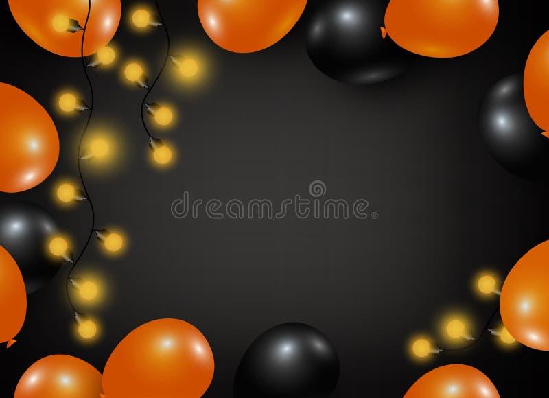 Progettazione del fondo di Halloween del pallone e della lampadina illustrazione vettoriale