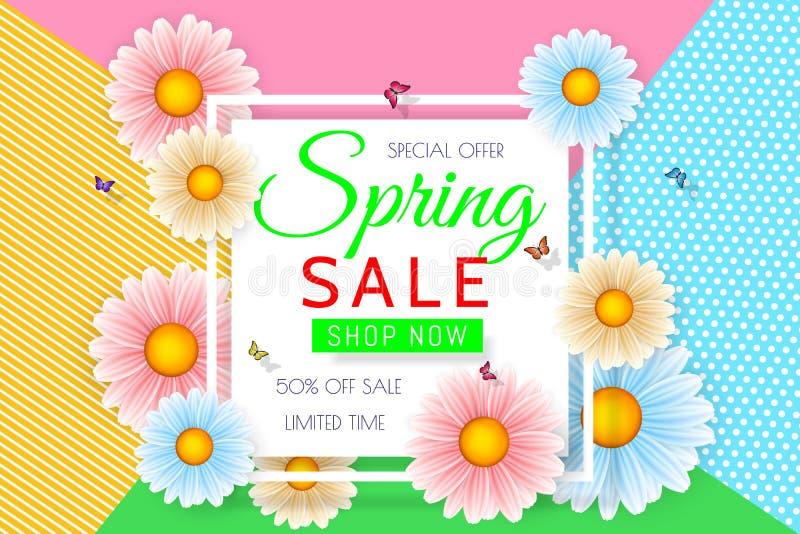Progettazione del fondo di vendita della primavera con il bello fiore variopinto Vector il modello di progettazione floreale per  illustrazione di stock