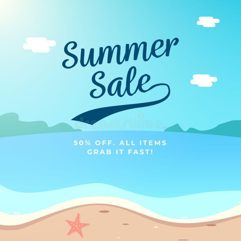 Progettazione del fondo di vendita di estate illustrazione di vettore di paesaggio della spiaggia royalty illustrazione gratis