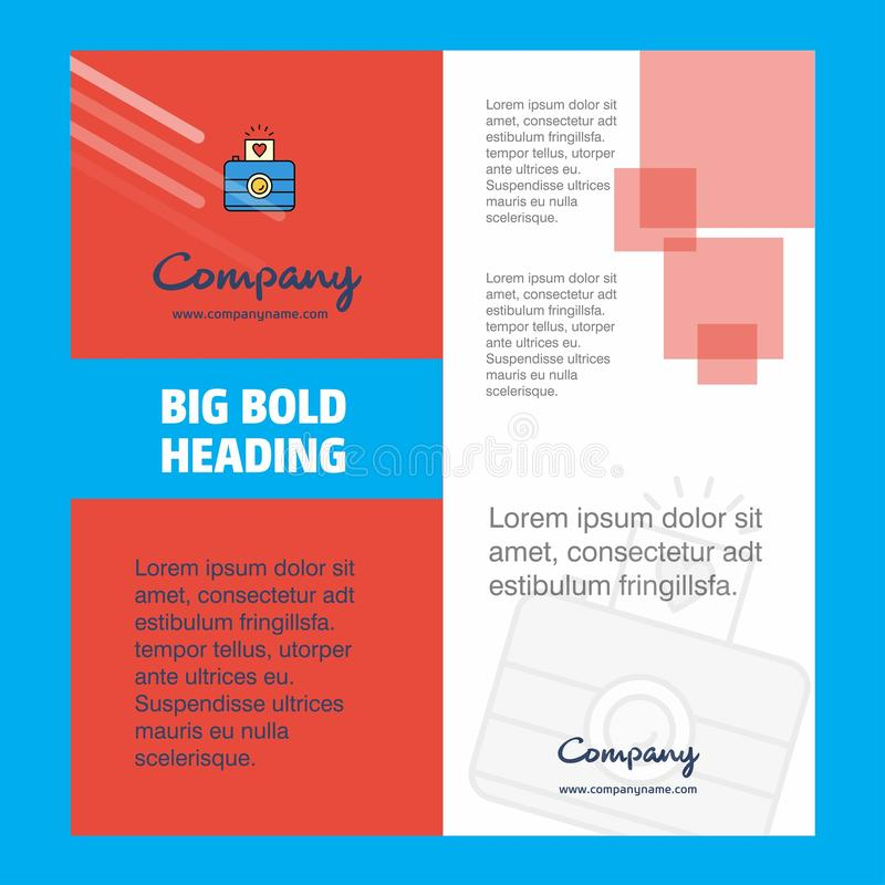 Progettazione del frontespizio dell'opuscolo di Camera Company Profilo aziendale, rapporto annuale, presentazioni, fondo di vetto illustrazione di stock
