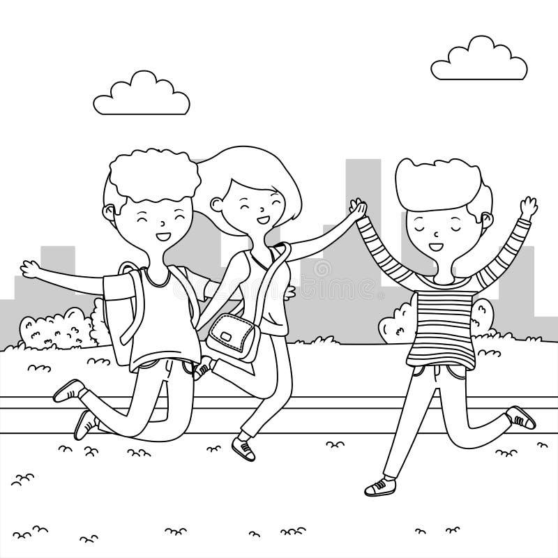 Progettazione del fumetto dei ragazzi e della ragazza dell'adolescente illustrazione vettoriale