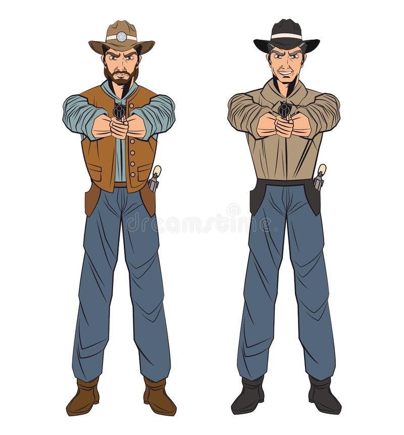 Progettazione del fumetto dell'uomo del cowboy royalty illustrazione gratis