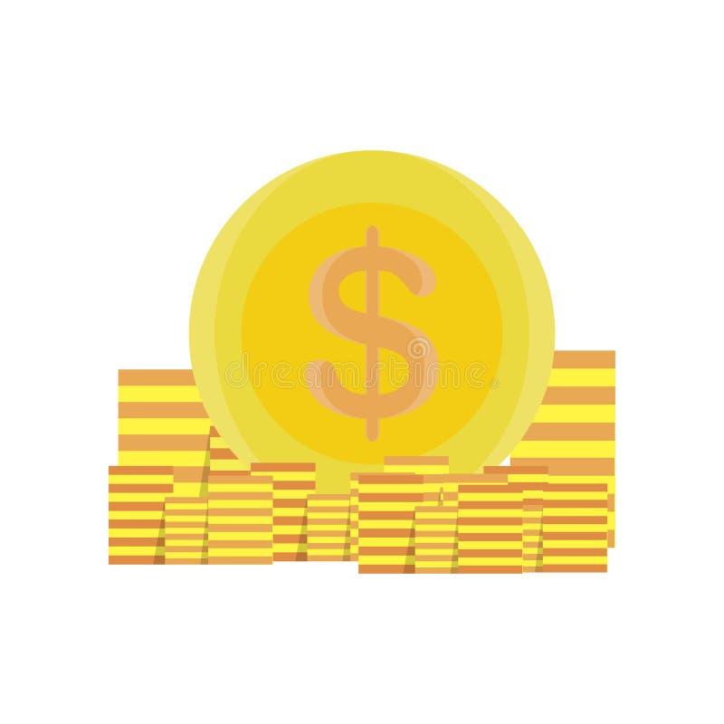 Progettazione del fumetto di affari della banca di progettazione dell'illustrazione dell'oro di vettore dei soldi delle monete illustrazione vettoriale