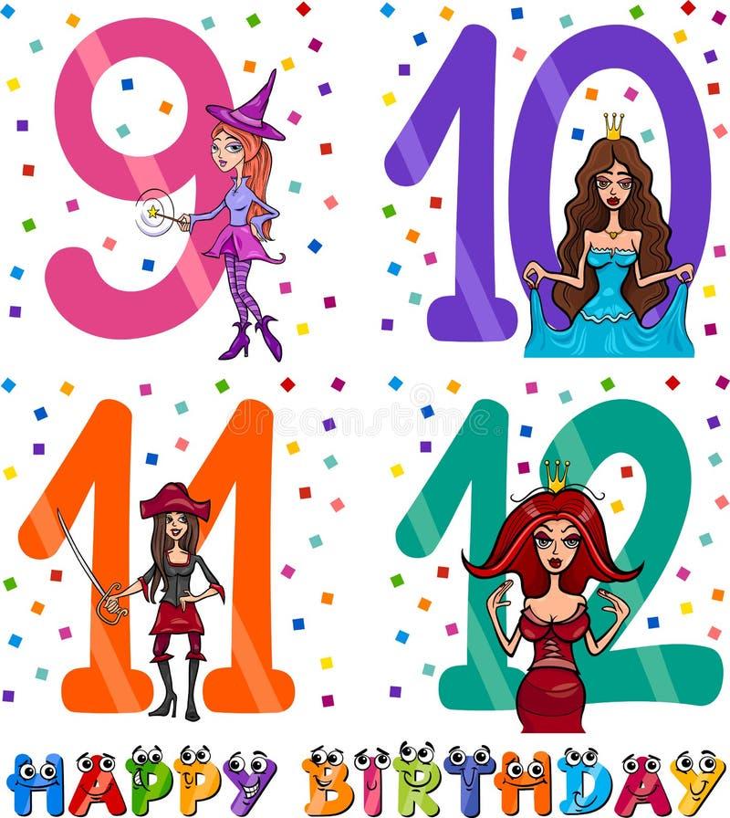 Progettazione del fumetto di compleanno per la ragazza royalty illustrazione gratis