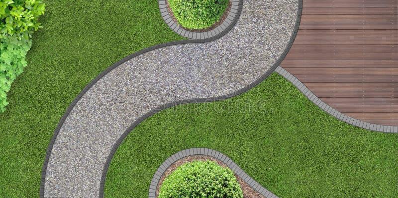 Progettazione del giardino da sopra immagini stock libere da diritti