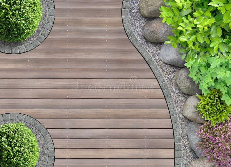 Progettazione del giardino nella vista superiore immagine stock