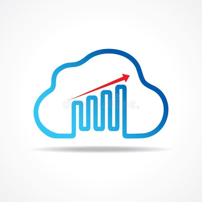 Progettazione del grafico di crescita di affari con il concetto di progetto della nuvola illustrazione di stock