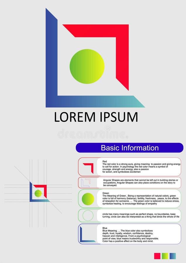 progettazione del logo e relativa spiegazione e significato dei colori in ogni modulo immagini stock libere da diritti