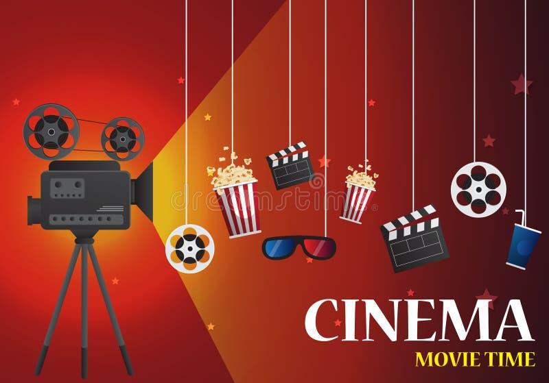 Progettazione del manifesto del cinema di film insegna del modello per la manifestazione con illustrazione di stock
