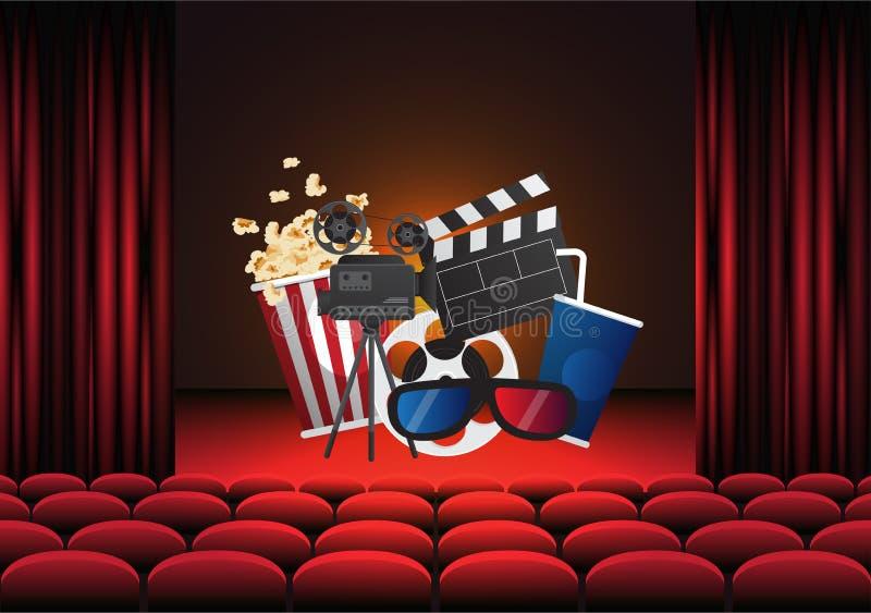 Progettazione del manifesto del cinema di film Insegna del modello di vettore royalty illustrazione gratis