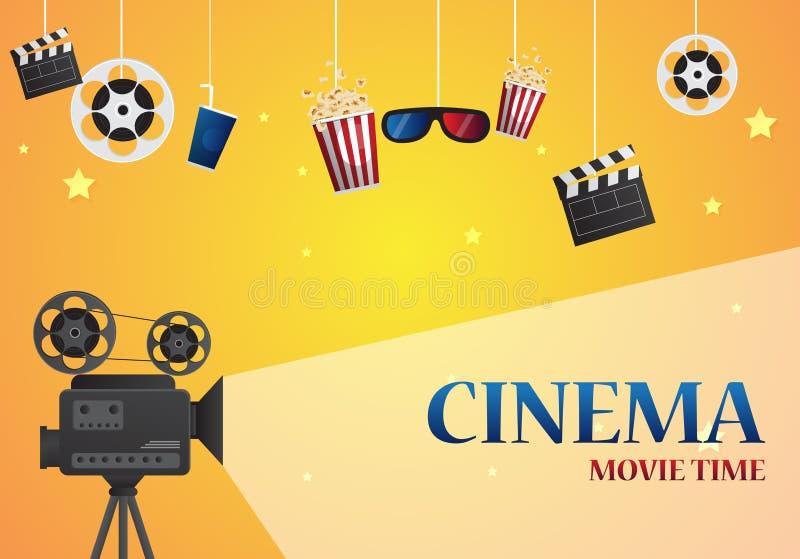 Progettazione del manifesto del cinema di film Insegna del modello di vettore illustrazione di stock