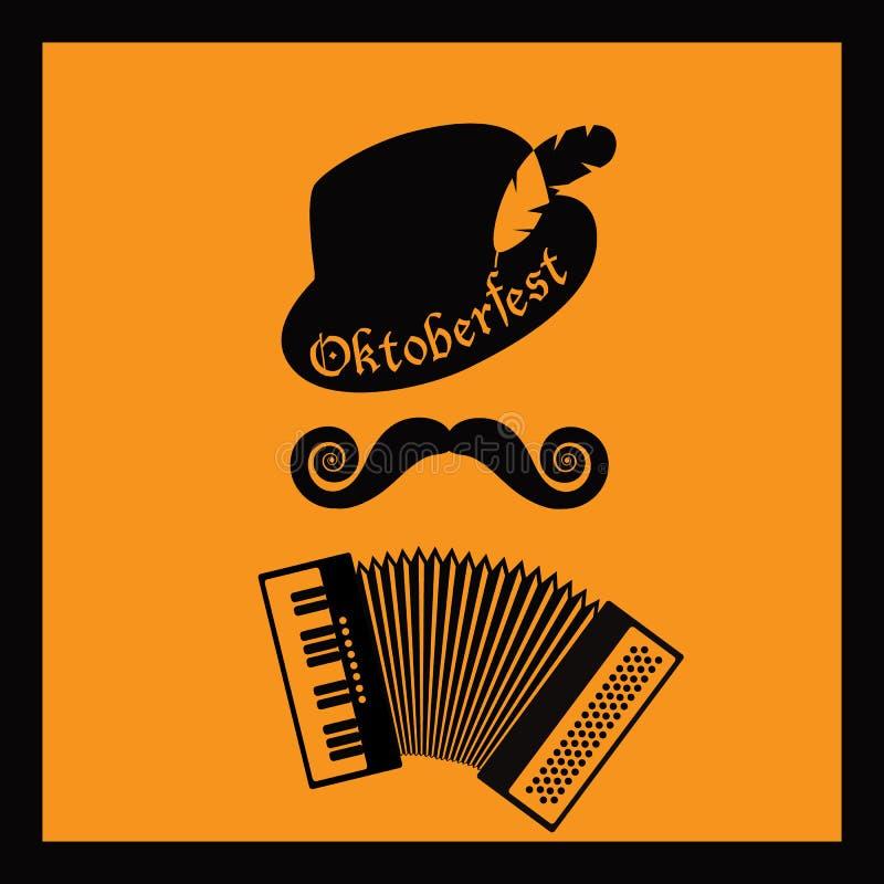Progettazione del manifesto del giocatore della fisarmonica di Oktoberfest illustrazione di stock