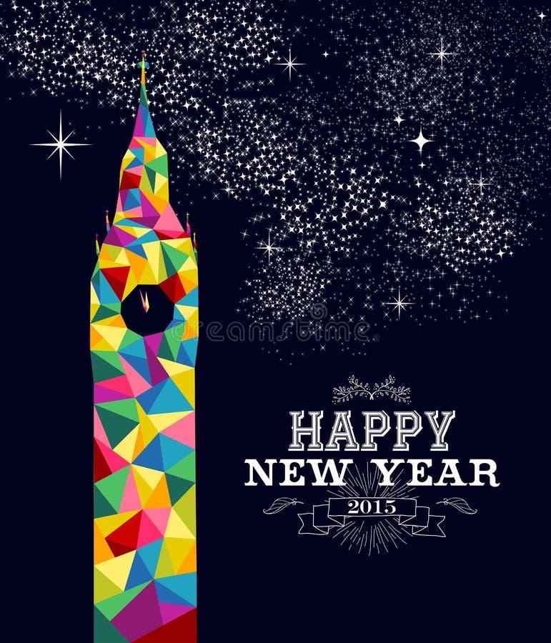 Progettazione 2015 del manifesto dell'Inghilterra del nuovo anno royalty illustrazione gratis