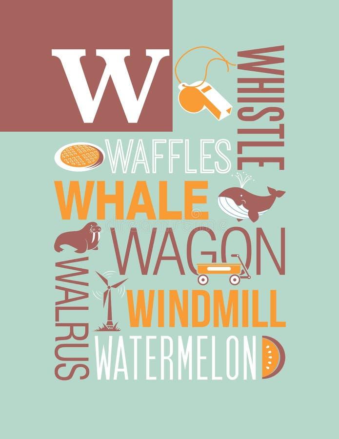Progettazione del manifesto di alfabeto dell'illustrazione di tipografia di parole della lettera W illustrazione di stock