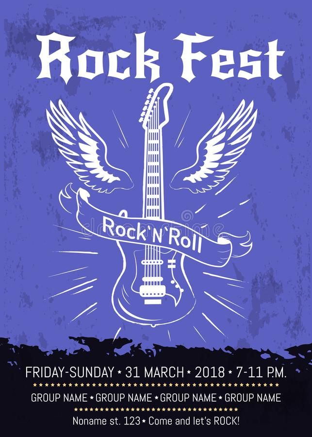 Progettazione del manifesto di annuncio del Fest del rotolo della roccia n illustrazione di stock