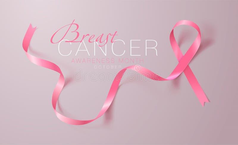 Progettazione del manifesto di calligrafia di consapevolezza del cancro al seno Nastro rosa realistico Ottobre ? mese di consapev royalty illustrazione gratis