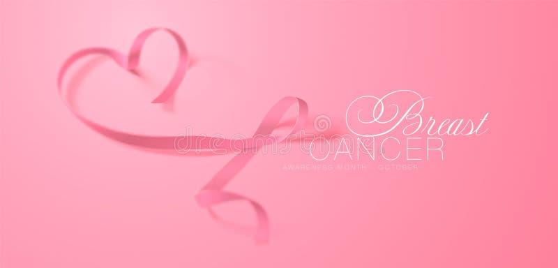 Progettazione del manifesto di calligrafia di consapevolezza del cancro al seno Nastro rosa realistico Ottobre ? mese di consapev illustrazione di stock
