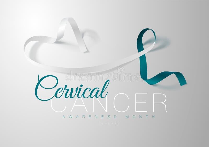 Progettazione del manifesto di calligrafia di consapevolezza del Cancro cervicale Teal realistico e nastro bianco Gennaio è mese  royalty illustrazione gratis